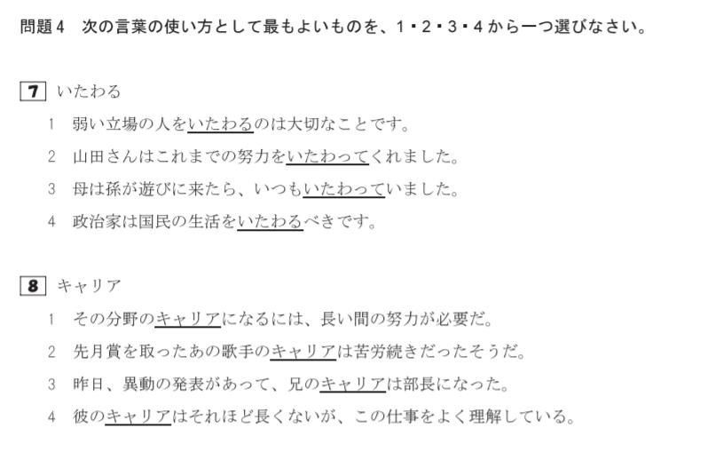 日本語能力試験N1 例2