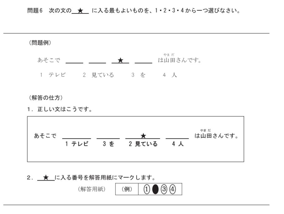 日本語能力試験N1 例3