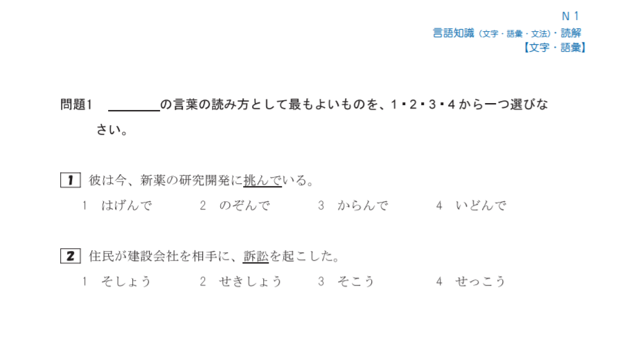 日本語能力試験N1 例